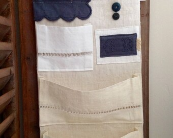 Wall tidy rack mail fabric old Monogram CR