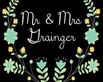 PRINTABLE Mr & Mrs LAST NAME - white with blue/yellow flowers, Custom Printable, 8.5x11""