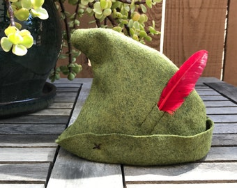 Newborn Olive Green Peter Pan Hat with Red Feather