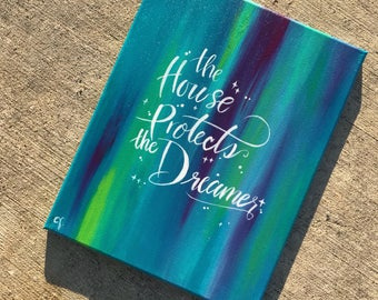 Dreamer Painting Blue Quote Wall Art Canvas Inspirational Wall Decor Room Home Decor