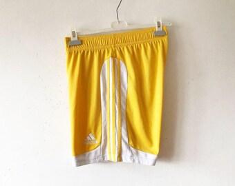 Yellow Adidas Football Running Shorts Yellow Men's Sports Wear Three Stripes Football Soccer Shorts Size Medium Vintage Running Shorts