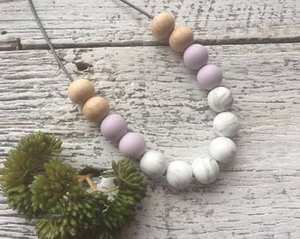 Handmade Silicone Beaded Necklace - Marble/Pastel Purple