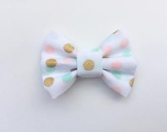 MINI Teal and Peach Polka Dot Bow, baby headbands, hair bows, mini bows, baby hair clips, white bows, baby girl