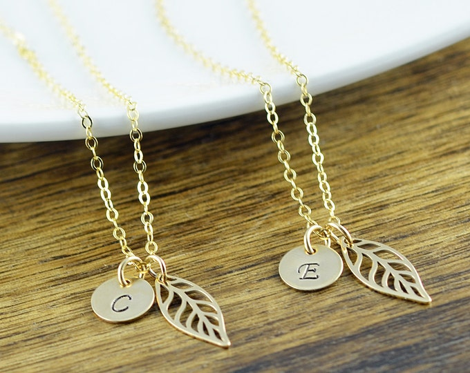 Gold Necklace - Bridal Party Jewelry - Gold Leaf Necklace - Leaf Necklace Gold - Bridesmaid Gift - Bridesmaid Jewelry