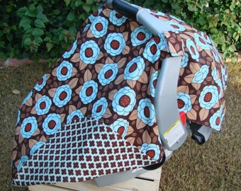 Car Seat Canopy - Baby Car Seat Cover - Brown Aqua Car Seat Cover - Baby Shower Gift - Floral Car Seat Canopy - Girls Car Seat Cover