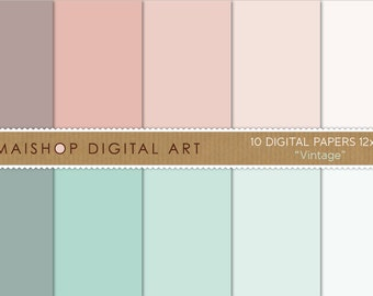 Solid Color Digital Paper 'Vintage' Printable Scrapbooking Papers for Backdrops, Crafts, Invitations, Decoupage...
