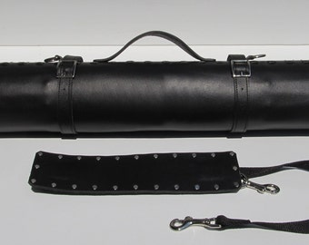 Leather Knife Roll - Black