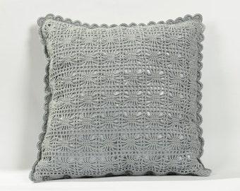 Pattern PDF gray pillow with crochet cover. Pillow crochet pattern