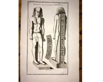1722 EGYPTIAN DIVINITY STATUE original antique architecture detail engraving - god deity divine supreme being.