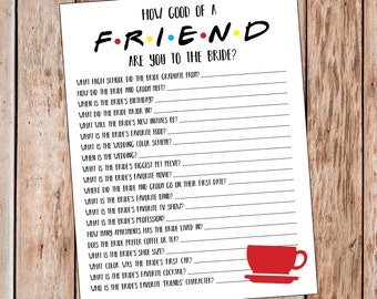 Friends Bridal Shower Game | Friends Bachelorette Game | Friends TV Show | How Well Do You Know The Bride Game | How Good Of A Friend Game