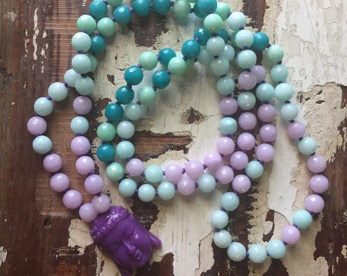 Teal Jade, Aqua Jade, Lilac Jade + Purple Buddha Mala | 108 Bead | 8 mm | Handknotted |Spiritual Junkies | Yoga + Meditation