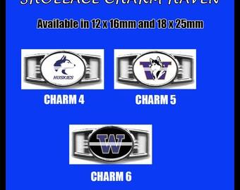WASHINGTON HUSKIES Shoelace Charm  Paracord Bracelet Charm Oval Charm 12 x 16mm or 18 x 25mm Charms