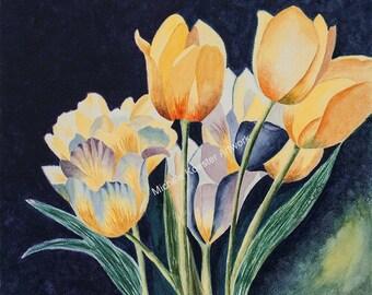 Yellow/Gold Tulips w/Blue & Violet Watercolor Print/Wall Art/Easel Art/Giclee Art Print Tulip Watercolor Art