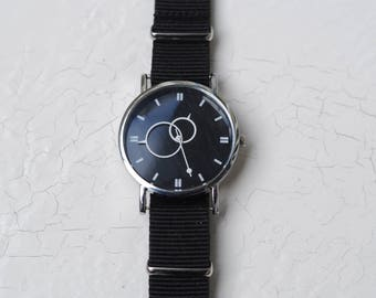 "Minimal watch , ""Copernic"" watch , Mens watch, Vintage watch, Black Watch ,Boyfriend Watch , minimalist watch  ,gift for boyfriend"