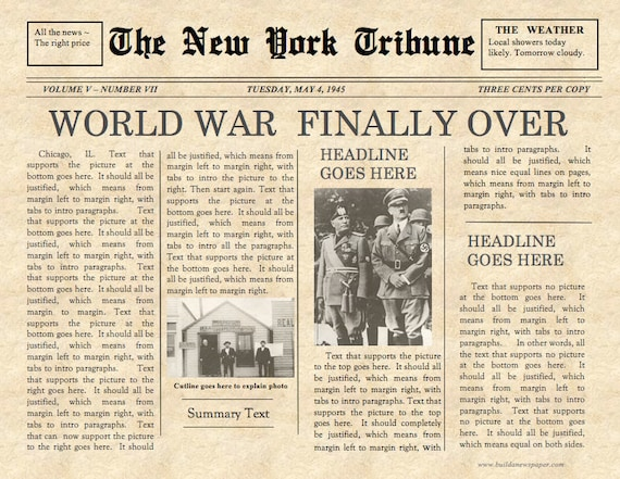 Vintage front page newspaper template instant download for for Old fashioned newspaper template free