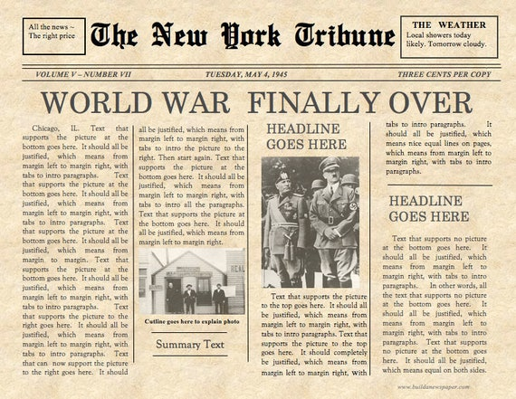 Vintage Front Page Newspaper Template Instant Download For
