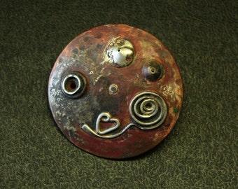A Little Planet. Pin brooch. Asteroid B13. Copper, sterling silver. La petite planète. Broche Pin. Cuivre, sterling.