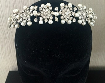snowflake headpiece wedding headdress diamante tiara crystal headband  winter hair accessory