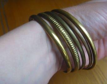 bronze tone stacking bangles, 5 vintage stacking bracelets