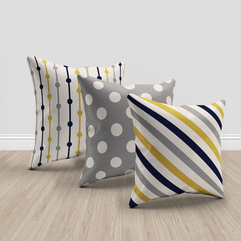 mustard yellow blue gray and cream throw pillows set of 19