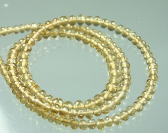 1/2 Strand of TOP QUALITY AAA Beer Quartz Micro-Faceted Rondelles 4-5mm