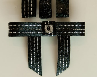 Bun Bow with Rhinestone Horseshoe, 3 black ribbon colors, Saddleseat Bow, Equestrian Horse Show Bow, saddle seat bow