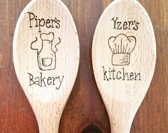 Personalized Wooden Spoons, Wood Burned Wooden Spoons