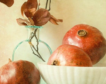 modern farmhouse / wall decor / autumn photograph / red white / fine art photography / november / Three pomegranates / rustic print / winte