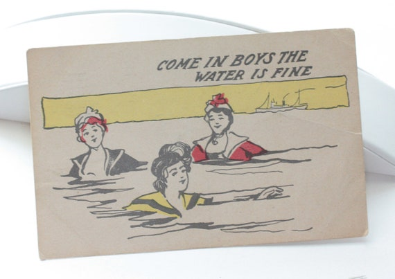 Humorous Antique Postcard Ladies Swimming Come in Boys the Water is Fine 1 Cent Stamp