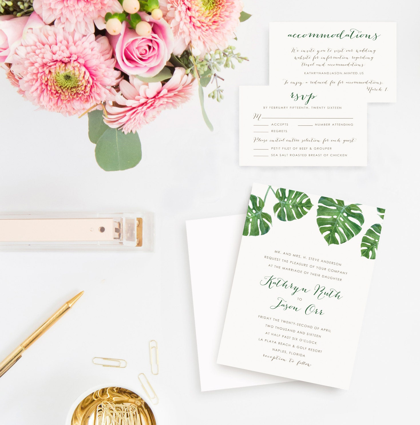 Destination Wedding Quotes For Invitations: Palm Leaf Destination Wedding Invitation Set: RSVP Cards And