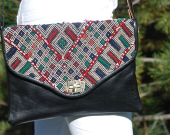 Black Leather Purse Crossbody Bag Aztec Print Winter Handbag Shoulder Hobo Purse Kilim Morocco Clutch Bohemian Boho Hippie