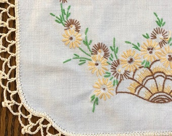 3 Piece Set of Vintage Table Linen - Hand Embroidered - Dresser Scarves and Doily -Floral Pattern