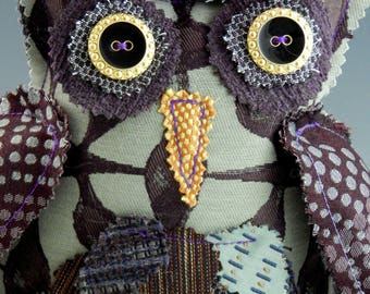 Recycled Upholstery Fabric Owl Soft Sculpture, Violet