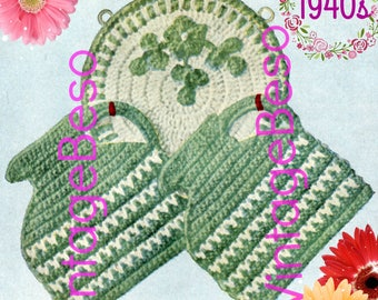 Jugs on a Rack Potholder CROCHET Pattern • PdF Pattern • Vintage 1940s • Digital Pattern • Retro Potholder Set with Flowered Rack • Gift