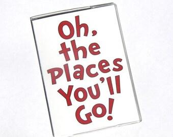 PASSPORT COVER - Oh the Places You'll Go. Passport Holder, Passport Case, Travel Wallet, Dr. Seuss, Graduation Gift, Travel Gift Idea
