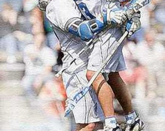 North Carolina Lacrosse Giclee Art Print 12x18 LE 50