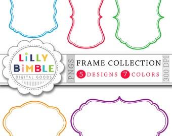 70 Digital Frames clipart Banners, labels Frame collection for cards, scrapbooking Digital Download