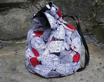 Knitting Wool  Project Bag. Small Drawstring bag ideal for knitting or crochet projects