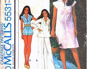 McCall's 5531 Marlos Corner Retro Woman's Sheath Dress, A-Line Top, Straight Leg Pants, Mini Shorts Sewing Pattern Size 12 Vintage 1970's