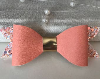 Coral Bow, Baby Girl, Toddler, Young Girl Or Adult, Faux Leather, Vegan Friendly, Headband or Clip