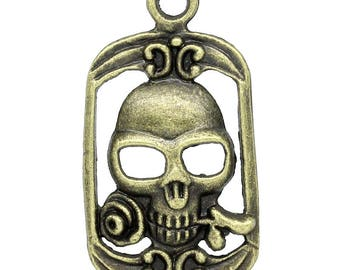 Charm/pendant skull and rose bronze metal (x 2)