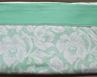 Vintage Wabasso Vogues Cotton Double Top Flat Sheet - Mint Green Floral