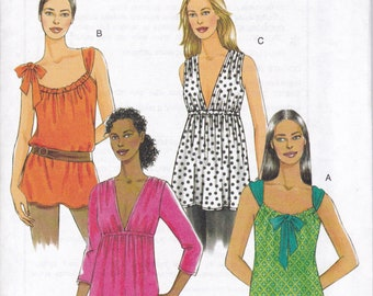FREE US SHIP Butterick 5216 Sexy Tops 4 variations Drawstring Neck Deep V Front Size 4/14 16/22 Plus Bust 29-44 Sewing Pattern