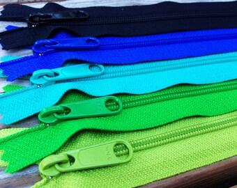 22 inch YKK zippers, long pull, Five pcs - green apple, dublin green, royal blue, turquoise, black, YKK 875, 151, 018, 918, 580