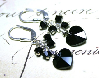 SALE- The Swarovski Crystal Heart Earrings in Jet Black- Swarovski Crystal and Sterling Silver - FREE SHIPPING