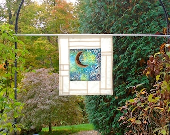 Northern Lights ~ Bleached and Distressed Stained Glass Look Fabric Pojagi Window Treatment / dorm / cafe curtain / watercolor curtain