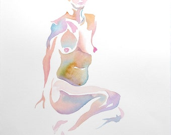 Original Watercolor life drawing, 25% OFF SALE! seated, female, nude, frontal, painting, woman, unframed, gift, home decor, wall art, 2D art