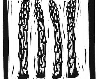 asparagus linocut print