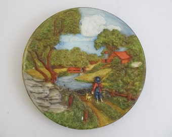 Chalkware, Plaster, Wall Plaque, Farm Paintings, Pastoral Paintings, Chalkware Plate, Decorative Plates, Wall Hanging, Mid Century, Barns