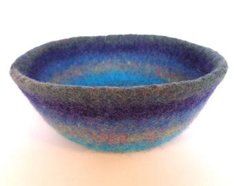 Blue Depths Felted Bowl